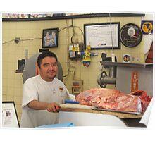 Butcher at the Farmers Market - Carnicero en el Mercado Poster