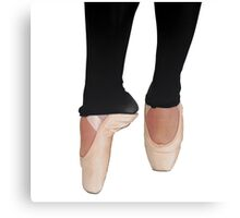 Female Ballet Dancer close up of pointed toes On white Background Canvas Print