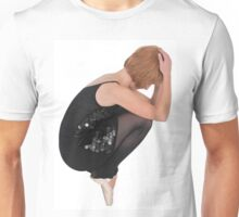 Female Ballet Dancer balances on her tows On white Background Unisex T-Shirt