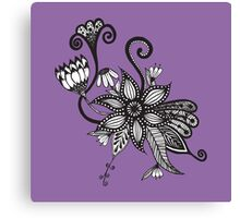 Amethyst Purple and Black & White Tangle Flowers Canvas Print