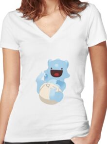 Baba-cera-tops Blue Women's Fitted V-Neck T-Shirt