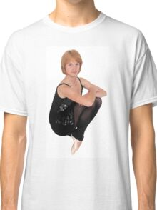 Female Ballet Dancer balances on her tows On white Background Classic T-Shirt