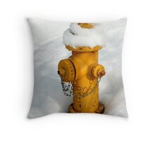 yellow fire hydrant in the snow Throw Pillow