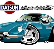 Datsun 240Z caricature turquoise by car2oonz