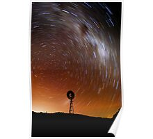 Windmill of star trails Poster