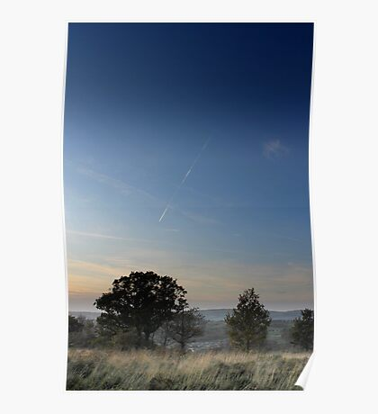 Vapour trail over wispy grass, Shire Hill, Glossop Poster