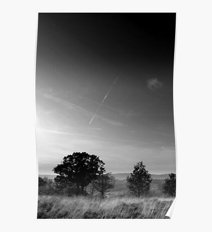Vapour trail over wispy grass, Shire Hill, Glossop (B&W) Poster