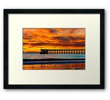 Venoco Ellwood Pier, in Bacara beach CA during sunset Framed Print