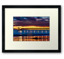 Venoco Ellwood Pier,  Bacara (haskell's) beach Goleta  at sunset Framed Print
