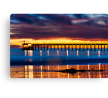 Venoco Ellwood Pier,  Bacara (haskell's) beach Goleta  at sunset Canvas Print