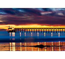 Venoco Ellwood Pier,  Bacara (haskell's) beach Goleta  at sunset Photographic Print