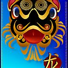 Black 'n Gold Chinese Dragon Face and Dragon Symbol by Lotacats