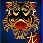 2012 Black 'n Gold Chinese Dragon Face  by Lotacats