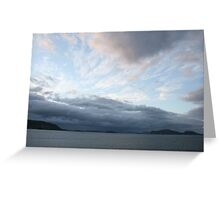 Peach and blue sky, dusk over fjord Alesund  Greeting Card
