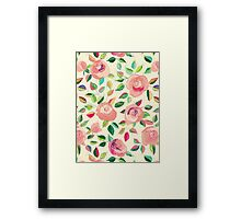 Pastel Roses in Blush Pink and Cream Framed Print