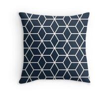 Navy Interlocked hexagon lattice Throw Pillow