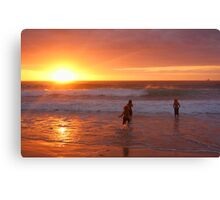 Magic Happens - Frazer beach - Sunrise Swim Canvas Print