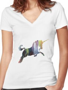 Unicorn, Colorful Unicorn Silhouette Women's Fitted V-Neck T-Shirt