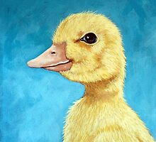 Baby Duck - spring duckling farm animal portrait by LindaAppleArt