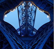 Eiffel Tower leg Blue lights by Mitchthe
