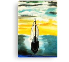 Sailing into the sunset, watercolor Canvas Print