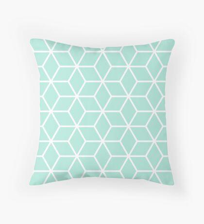 Mint Interlocked hexagon lattice Throw Pillow