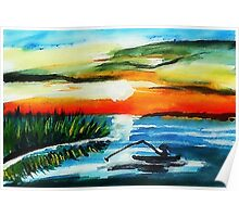 Fishing in the Reeds #2, watercolor Poster