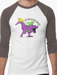 Stupendous! | Funny 90s Pop Culture Barney and Friends Dinosaur Men's Baseball ¾ T-Shirt