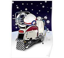 Mod Scooter Lambretta Christmas Card Poster