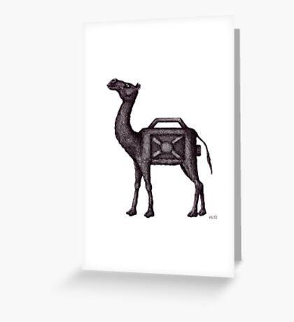 Water Container Camel surreal black and white pen ink drawing  Greeting Card