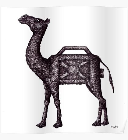 Water Container Camel surreal black and white pen ink drawing  Poster