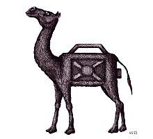Water Container Camel surreal black and white pen ink drawing  Photographic Print