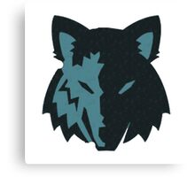 Crosshatch Wolf Emblem - Blue Canvas Print