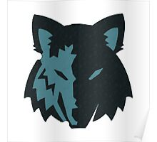 Crosshatch Wolf Emblem - Blue Poster