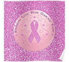 Breast Cancer Pink Ribbon Glitter Logo Poster