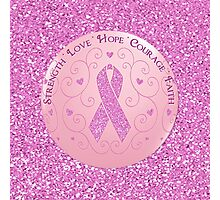 Breast Cancer Pink Ribbon Glitter Logo Photographic Print
