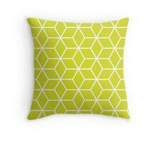 Chartreuse Interlocked hexagon lattice Throw Pillow