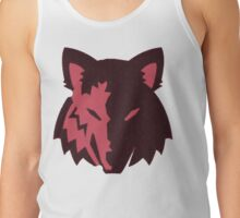 Crosshatch Wolf Emblem - Red Tank Top