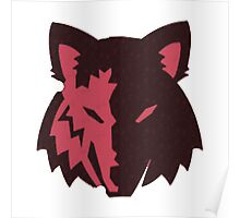 Crosshatch Wolf Emblem - Red Poster