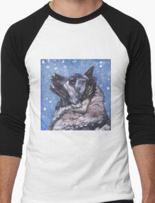 Norwegian Elkhound Fine Art Painting Men's Baseball ¾ T-Shirt