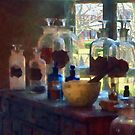 Mortar, Pestle and Bottles by Window by Susan Savad