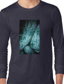 blue wood  texture art Long Sleeve T-Shirt