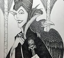 Maleficent - Pen and Ink by JacobCarder