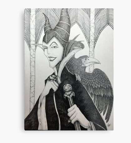 Maleficent - Pen and Ink Metal Print