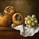 Classic Still Life with Persimmons and Grape by Przemysław Bródka