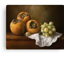 Classic Still Life with Persimmons and Grape Canvas Print