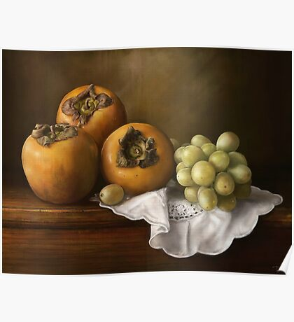 Classic Still Life with Persimmons and Grape Poster