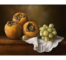 Classic Still Life with Persimmons and Grape Photographic Print