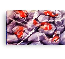 Large koi pond, watercolor Canvas Print