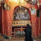 Praying at Nativity Grotto in Nativity Church by muniralawi